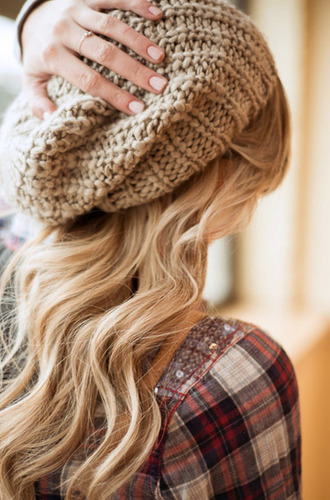 hat beanie flannel wavy hipster tumblr tan knit