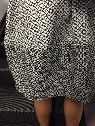 shirt skirt black white monochrome aztec a-line bubble optical