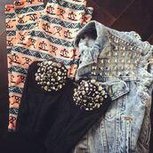 pants,aztec,leggings,corset top,bralette,studs,denim jacket,spikes,sleeveless,clothes,shirt,jeans,studded bustier,studded