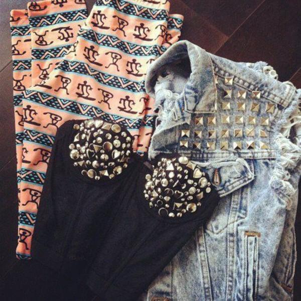 pants aztec leggings corset top bralette studs denim jacket spikes sleeveless clothes shirt jeans studded bustier studded