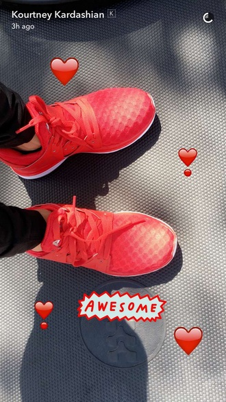 shoes low top sneakers red red sneakers workout sneakers kourtney kardashian kourtney kardashian style fitness