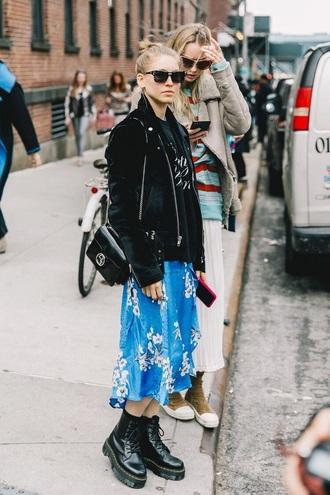 shoes boots black boots skirt midi skirt blue skirt floral skirt sunglasses hoodie jacket black jacket bag drmartens