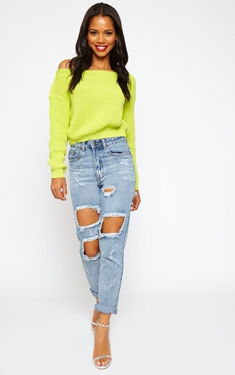sweater lime crop off the shoulder sweater off the shoulder jumper jeans