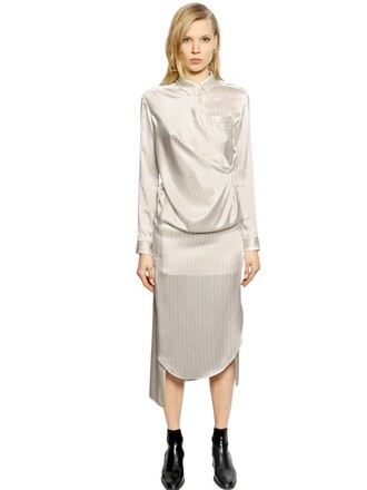 dress shirt dress silk satin white