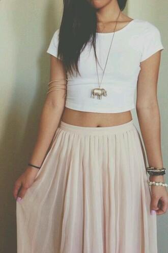 skirt light pink beige long