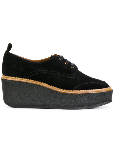 women sneakers platform sneakers leather suede black shoes