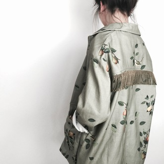 jacket yeah bunny pear birds 36683 fringes fruits green army green