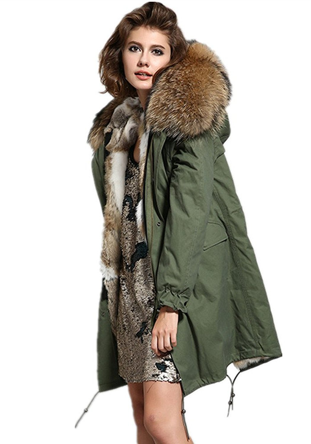Women's Army Green Large Raccoon Fur Collar Hooded Long Coat ...