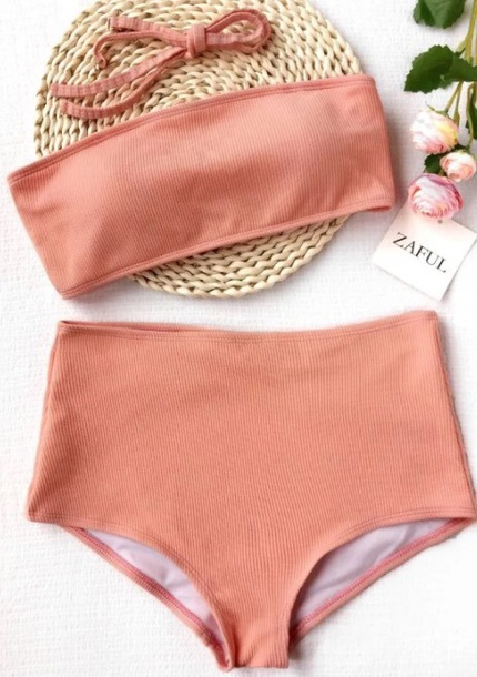swimwear girly two-piece swimwear two piece bikini bikini top bikini bottoms high waisted bandeau bikini bandeau bandeau swimsuit bandeau top