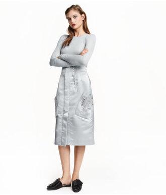 skirt midi skirt grey skirt