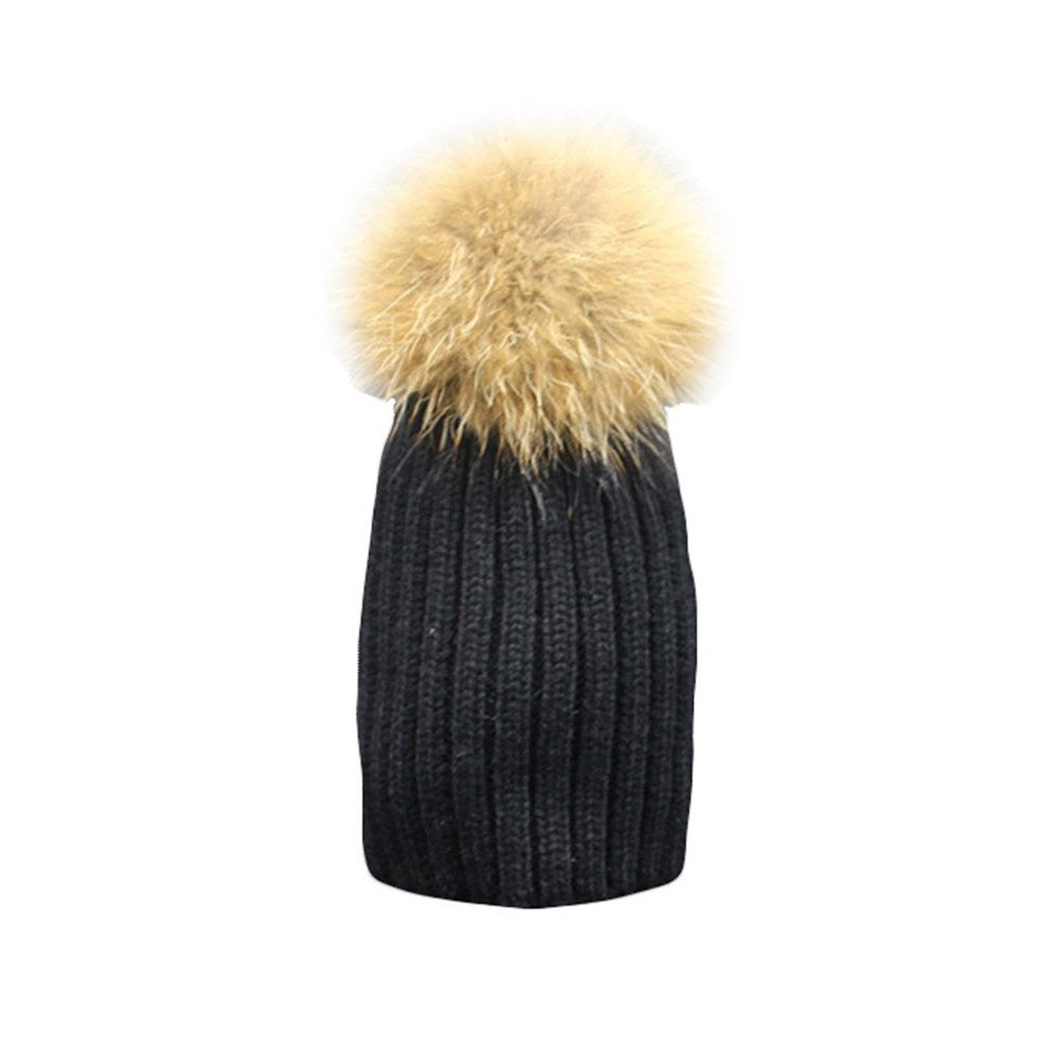 caaa6bb65b155 Amazon.com: SPRINGWIND Kid's Real Raccoon Fur Pompoms Knitted Bobble Caps  Beanie Hat Valentines: Clothing