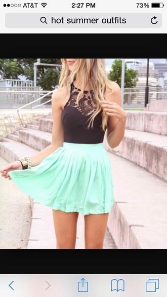 top mint skirt black crop top