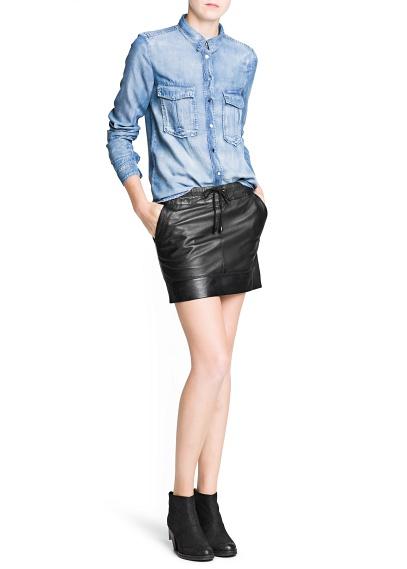 MANGO - CLOTHING - Medium wash tencel shirt