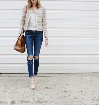 see jane blogger tank top spring jacket ripped jeans silk top see anna jane jacket jeans