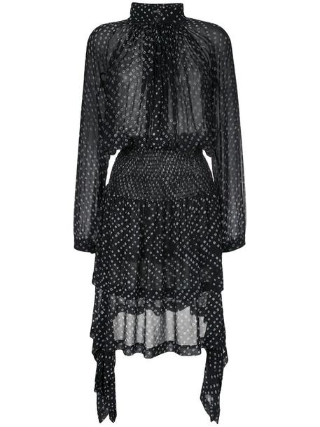 dress printed dress women black silk