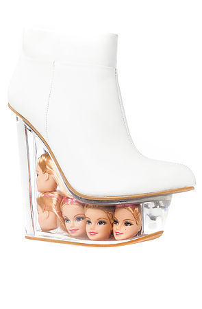 Jeffrey Campbell Shoe Icy in White Leather and Doll Heads -  Karmaloop.com