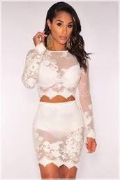 top,blouse,dress,skirt,lace dress,white lace dress,crop tops,2 piece skirt set,croptoptshirt,white,sheer,sheer top,sheer skirt,sheer dress white