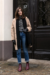 simple et chic,blogger,striped shirt,ankle boots,turtleneck,camel coat,straight jeans,striped turtleneck,striped top,stripes,scarf,camel,denim,blue jeans,striped turtleneck sweater