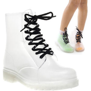 Lady White Rubber Clear Transparent Ankle Hightop Lace Up Flat Rainboots US 7.5