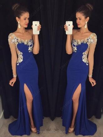 dress blue fashion style trendy slit dress classy gown formal prom dressofgirl