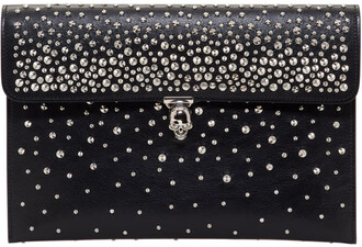 skull clutch black bag