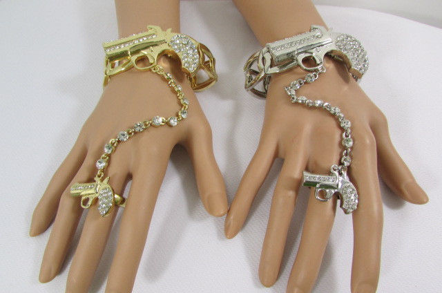 New Women Gun Bracelet Hand Chain Fashion Jewelry Slave Pistol Ring