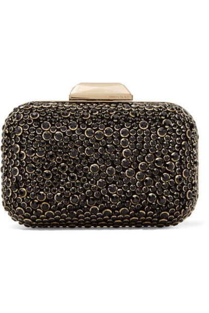 Jimmy Choo embellished clutch suede black bag