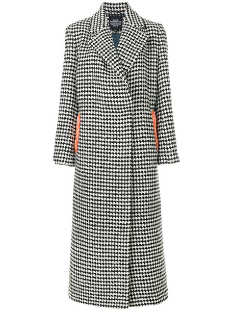 Katya Dobryakova coat women spandex tiger white silk houndstooth