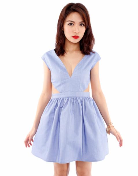 Dress: cute dress, cut-out dress, chambray, weheartit ...