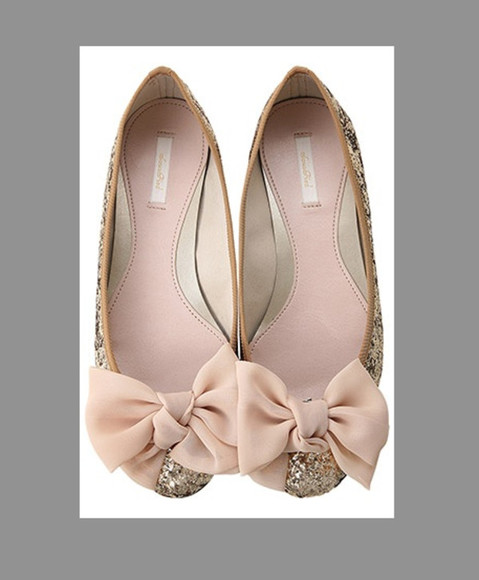 shoes bows ballerina ribbon strass sparkles flat