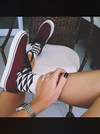 shoes dark red vans red vans red black dope tumblr burgundy
