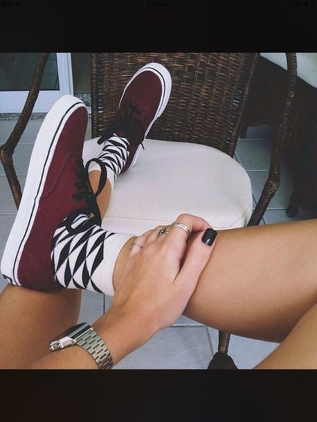 shoes dark red vans red vans red black dope tumblr burgundy socks