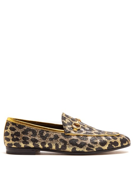 gucci jacquard loafers gold shoes