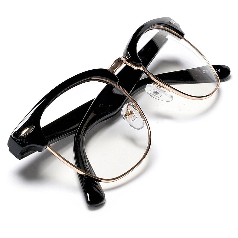 Amazon.com: large simi rimless half frame retro design glasses for big heads (black/gold): clothing