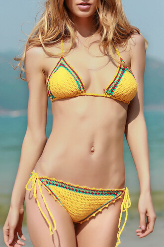 swimwear dressfo beach blonde hair yellow bikini crochet lace boho summer
