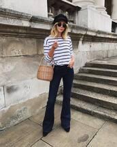 top,tumblr,long sleeves,stripes,striped top,denim,jeans,blue jeans,flare jeans,bag,basket bag,hat,fisherman cap
