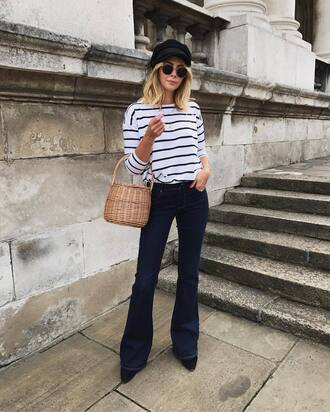 top tumblr long sleeves stripes striped top denim jeans blue jeans flare jeans bag basket bag hat fisherman cap