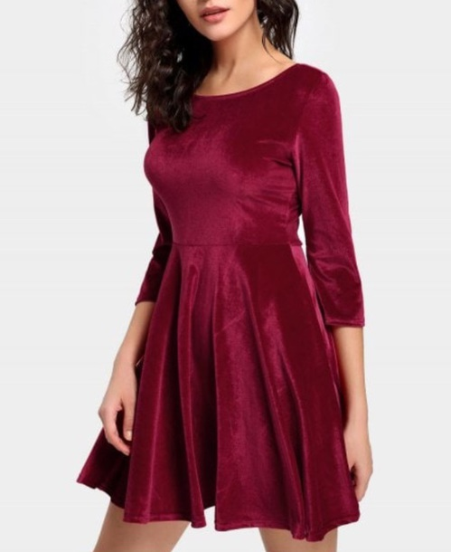 dress girly red dress red velvet velvet dress skater dress