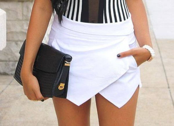 skirt shorts skorts white fashion cute lovely hip asymmetrical shirt skorts white skort white skorts white skirt