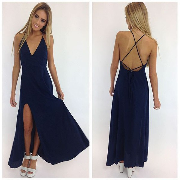 dress maxi dress slit dress navy dress navy peppermayo