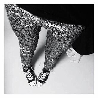 glitter sequins party pants converse