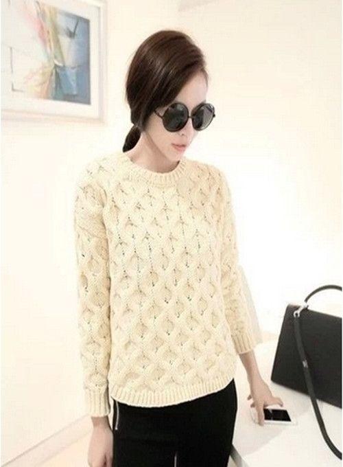 pull femme sweater haut tricot longue manche classic hot. Black Bedroom Furniture Sets. Home Design Ideas