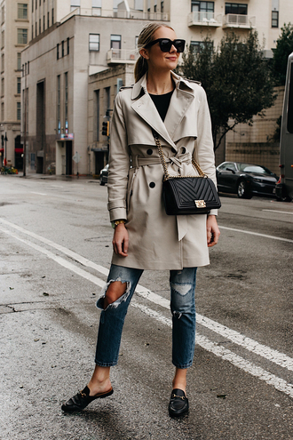 fashionjackson blogger coat sweater jeans shoes bag sunglasses trench coat loafers chanel bag