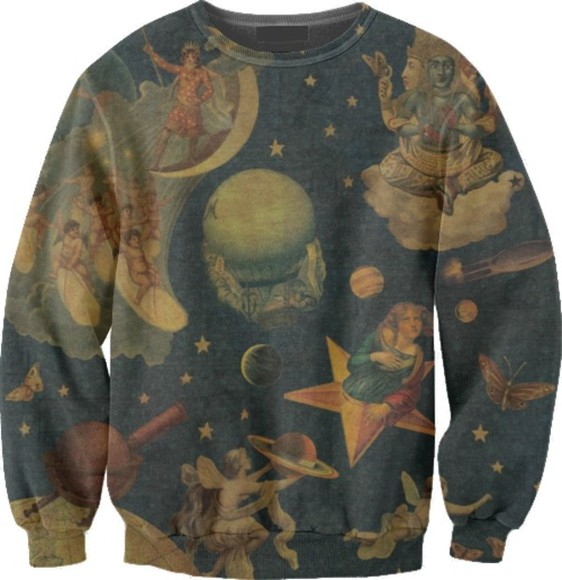 drawings blue sweater mellon collie and the infinite sadness smashing pumpkins billy corgan sp mcis zero bullet with butterfly wings moon stars cat planet space clouds thesmashingpumpkins oversized sweater iwantthissobad
