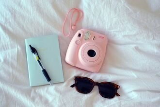 sunglasses polaroid camera book pink camera camera photography notebook technology