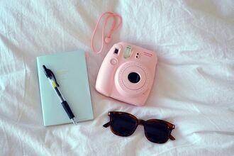 sunglasses polaroid camera book pink camera camera photography notebook technology