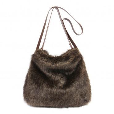 Treacle faux fur Dartmoor bag by Helen Moore