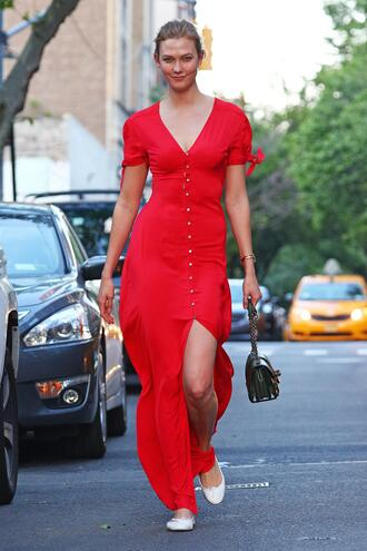 dress red dress red karlie kloss model off-duty streetstyle spring outfits spring dress maxi dress