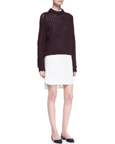 3.1 Phillip Lim Open-Knit Pullover Sweater and Long-Sleeve Double-Layer Shirtdress