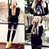sweater,romwe hoodie,black